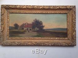 Tableau Classique ancien NILLY XIXe Paysage animé d'une Ferme Huile signée
