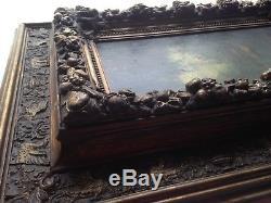 Tableau Ecole de BARBIZON XIXe Sous bois Narcisse DIAZ Huile avec Cadre ancien