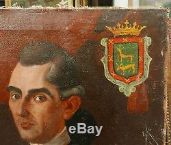 Tableau Espagnol Ancien Daté 1782 Huile Portrait Homme Blason Espagne