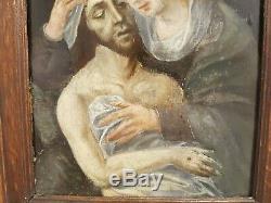 Tableau Flamant ancien religieux XVII eme Pietà, datée 1601
