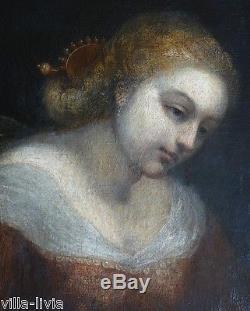 Tableau HST ancien portrait de Femme XIXeme coiffure renaissance Dame de qualité