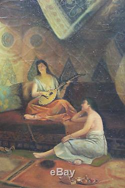 Tableau HST orientaliste ancien Scène de harem Anonyme Superbe