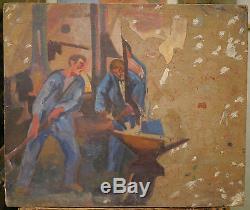 Tableau Huile Ancien Atelier Forgeron Enclume PIERRE JULES TRANCHANT 1910/1920