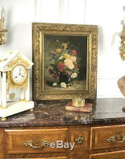 Tableau / Huile Sur Toile Ancienne (bouquet D'oeillets) Signée P. Voiron