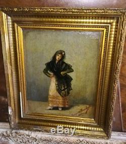 Tableau Huile sur toile ancienne 1889 signée XIXème Espagnole
