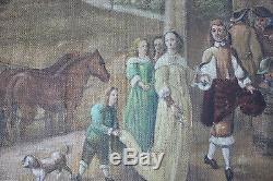 Tableau Immense toile ancien Kermesse flamande Anonyme Superbe