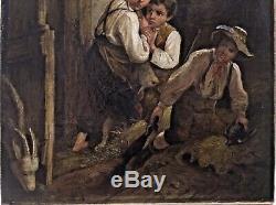 Tableau Peinture 19è XIXè Scène de genre Paysannerie Animaux Enfants rare ancien