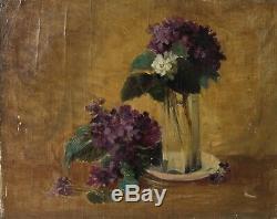 Tableau Peinture Ancienne Bouquet de Fleurs, Nature Morte, Lila Huile