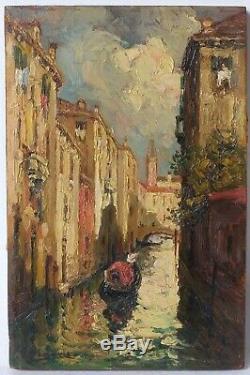 Tableau Peinture Ancienne Huile, Gondole à Venise