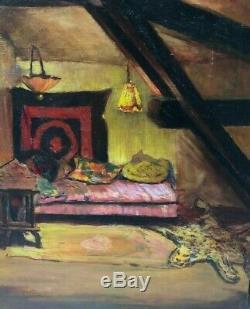 Tableau Peinture Ancienne Huile, Intérieur Orientaliste, Architecture