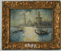 Tableau Peinture Ancienne Huile Original Paysage Venise, Italie, Saint-Marc