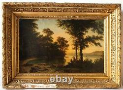 Tableau Peinture Ancienne Huile, Paysage, Animaux, Cerf, Lac, Coucher, Soleil