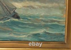 Tableau Peinture Ancienne Huile signé CHIVOT, Marine, Bateaux, Mer