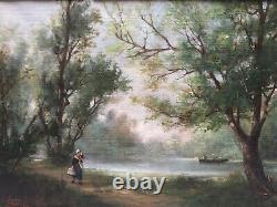 Tableau Peinture Ancienne Huile signé Jules CAYLA, Paysage, Personnage, Barbizon