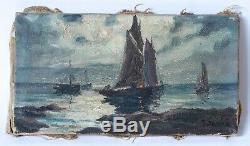 Tableau Peinture Ancienne Huile sur Toile Marine, Bateau, Mer, Clair de Lune