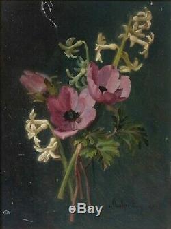 Tableau Peinture Ancienne signé Auguste Malpertuy Nature Morte, Fleurs 1883