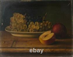 Tableau Peinture Ancienne signé Huile sur Toile, Nature Morte, Raisin, Pommes