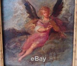 Tableau Peinture ancienne XVIIIème Ange violon Cadre à clés