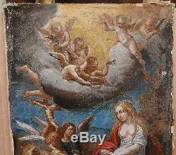 Tableau Religieux Ancien Huile Scène Marie Madeleine Anges XVIIe à restaurer