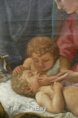 Tableau Religieux Ancien Huile Vierge à l'Enfant avec le petit St Jean-Baptiste