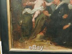 Tableau Religieux Ancien Portrait Scène Vierge à l'enfant Anges XIXe à restaurer