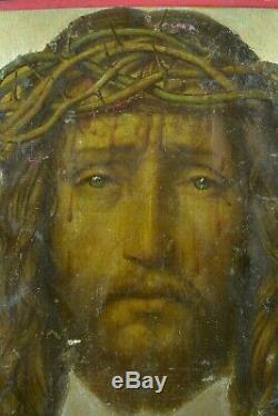 Tableau Religieux Ancien Portrait du christ Voile de Véronique Saint Suaire 18e