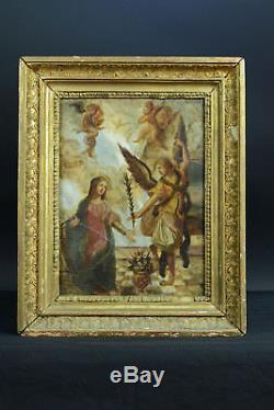 Tableau Religieux ancien éc. Italienne 17e Annonciation ange Gabriel Marie marbre