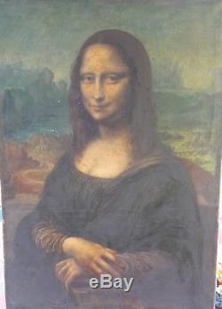 Tableau Toile Ancien Portrait Jonconde Mona Lisa XIX Eme