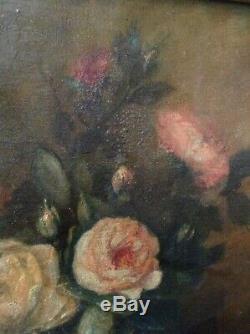 Tableau XIXe Bouquet de Roses anciennes Huile /Toile signée proche Alfred ROUBY