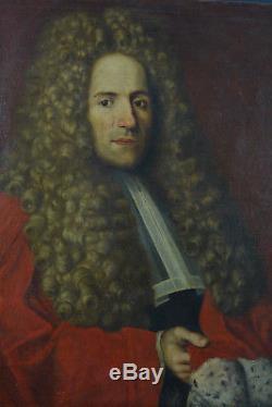 Tableau ancien 17ème Beau Portrait de jeune homme à la Perruque Costume Rouge