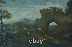 Tableau ancien 17éme Paysage Chasse Cavalier Rome Ruine Antique Pandolfo Reschi