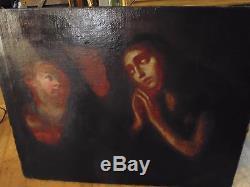 Tableau ancien 17éme huile sur toile Vierge Marie entourée d'anges
