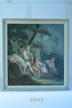 Tableau ancien 18e Diane aux Bains F. BOUCHER paysage Romantique Diane Dauphin