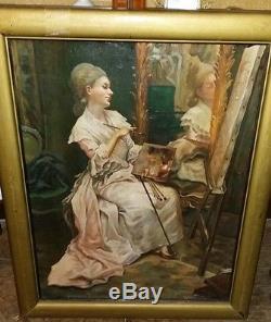 Tableau ancien 1910 rare autoportrait femme peintre miroir huile sur panneau