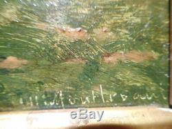 Tableau ancien 19 siècle peinture Charles MONTLEVAULT paysage peintre lyonnais