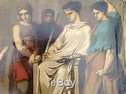Tableau ancien 19eme 18eme ecole francaise jugement par un roi mythologie