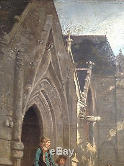 Tableau ancien 19eme ou 18 eme ecole francaise bretonne ou vendéenne enfants