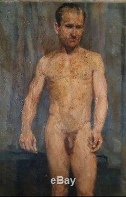 Tableau ancien Académie portrait d'homme nu