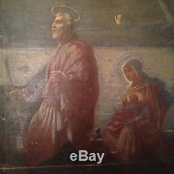 Tableau ancien Alexandre BERTIN XIXe La Fuite en Egypte Huile 19ème A restaurer