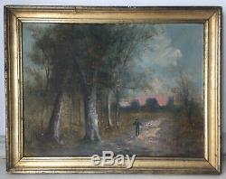 Tableau ancien Barbizon Paysage animé Crépuscule Huile Lucien HENRY (1850-1896)