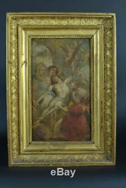 Tableau ancien Baroque Religieux flamand ascension Christ ange Van Dick 17 ème