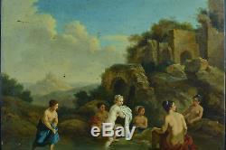 Tableau ancien Baroque hsp Cornelis van POELENBURGH Diane nue au bain 17e rare