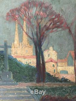 Tableau ancien Basque Cathédrale de Bayonne Huile panneau Post Impressionniste