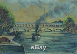Tableau ancien Bateau Vapeur sur la Seine Tour Eiffel esp. Marquet signé cadre