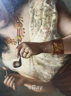 Tableau ancien Bohémienne à la pipe Ecole espagnole XIXe José Moreno Carbonero