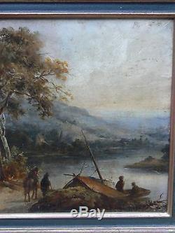 Tableau ancien Bord de fleuve animé HSP Ecole française ou Italienne XVIIIème