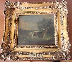 Tableau ancien Bouc dans un paysage 1783 Signé Superbe