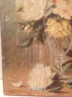 Tableau ancien Bouquet de Roses dans un verre Huile sur toile à restaurer