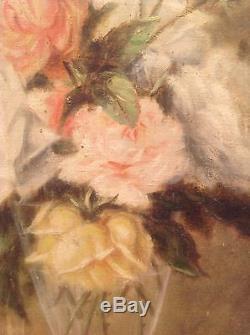 Tableau ancien Bouquet de Roses dans un verre Huile sur toile à restaurer 19thc