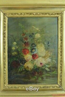 Tableau ancien Bouquet de fleurs Colombe Mariage jardin 19 ème cadre doré 19e